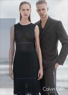 Models Vanessa Axente + Clark Bockelman on location in La Jolla, California, in the Spring 2015 Calvin Klein Collection ad campaign.