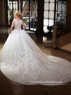 cbb9a97a5b Sparkling Tulle Lace Wedding Dress with Train by Mary s Bridal 6364
