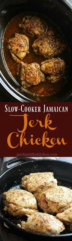 Slow Cooker Jamaican Jerk Chicken | http://gardeninthekitchen.com