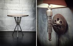 tables and lamps from vintage motocycle pieces