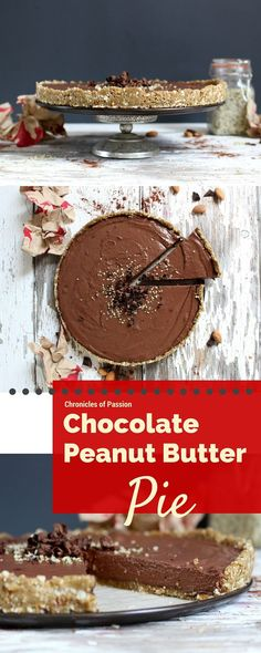 Raw, vegan Chocolate Peanut Butter Pie made with a smooth, creamy ...