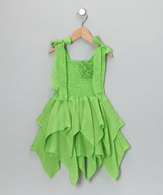 Take a look at this Green Smocked Handkerchief Dress - Toddler & Girls by Lele for Kids on #zulily today!
