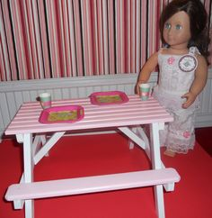 American girl pink & white wooden picnic table.Available at WOODNTHINGSBYFRANK On ETSY
