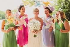 Another wedding with different bridesmaid dress colours - love it!