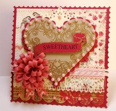 "Very Pretty ""SWEETHEART"" Card!!!  Nice Layout-Scrapbook Paper!!!  Love it"