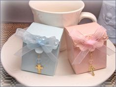 Baptism Favors, First Communion Favors, Confirmation Favors - Cube Box Finger Rosary Favor Kits. $27.00, via Etsy.