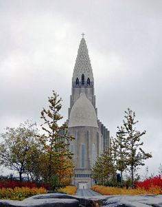 Hallgrimskirkja from the rear, commissioned in 1937 and completed in 1986, Reykjavik, Iceland, date and photographer unknown.
