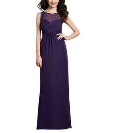 DescriptionAlfred Angelo Style 7362LFull length bridesmaid dressSweetheart neckline with sheer illusion overlayKeyhole back detailEmpire waist, shirred a-line skirtChiffon