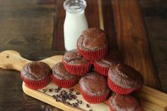 Check this recipe out later and add to correct board.    Chocolate Flaxseed Muffins.  WilL need to add cocoa powder if your protein powder and almond milk aren't chocolate flavored.