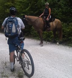 """""""How to Share the Trail""""  Do you know trail courtesy on multi-use trails? High Bridge Trail State Park offers 31 miles of multi-use trail designed to provide hikers, bikers, and horseback riders opportunities to enjoy nature and encounter the surrounding area's rich history.   Read more from this article by Karen Bellenir, Friends of High Bridge Trail State Park: http://www.virginiaoutdoors.com/article/more/4679"""