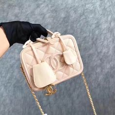 d35dc9bbd3984d Chanel CC Filigree Mini Vanity Case Bag in Grained Calfskin A93342 Nude 2017
