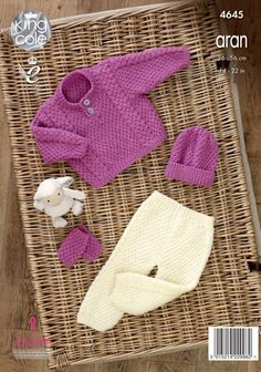 Sweater, Trousers, Hat & Mittens - King Cole Aran Knitting Patterns, Crochet Stitches Patterns, Arm Knitting, Knitting For Kids, Knitting Projects, Baby Clothes Patterns, Baby Patterns, Knit Or Crochet, Crochet Baby