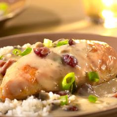 Saucy Cranberry Orange Chicken Allrecipes.com - I don't use instant rice...and use my own creamed mushrrom base. I find the canned soups provide WAY to much salt for my liking - but this is a great template for a nice fall dish!