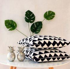 Beautiful black and white geometric handmade throw by CitraHome
