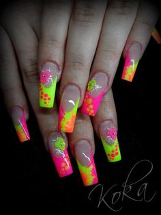Flouro yellow-  pink - summer nail art