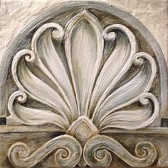 Encaustic painting of a section of a carved stone fountain 12x12 www.kariserrao.com
