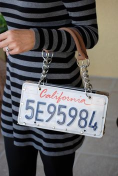 License plate purse. I SO want one of these! But PA plates or maybe MD since I lived there.