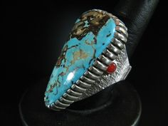 Robert Sorrell Apache Blue Turquoise and Coral Ring 8.5