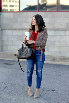 How to style mules - My Style Vita. Red blouse+ripped jeans+taupe fringed mules+brown suede moto jacket+black handbag. Spring Casual Outfit 2017