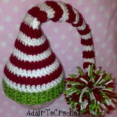 Baby Crochet Elf Hat With Pom Pom. Great by AdairToCrochet on Etsy,