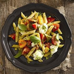 Pesto penne with buffalo mozzarella: I made this for dinner last night and it was delicious. Make sure to splurge on good mozzarella (I went for Buffalo), because it really makes the dish.