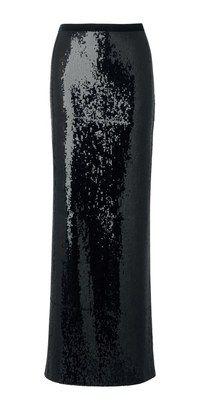 Black Soft Sequin Black Maxi Skirt