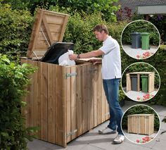 I want to build a corral for our trash bin(s) to hide them during the week Back Gardens, Small Gardens, Outdoor Gardens, Backyard Projects, Outdoor Projects, Outdoor Spaces, Outdoor Living, Outdoor Decor, Garden Bike Storage
