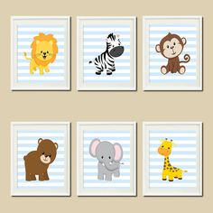 JUNGLE Nursery Wall Art ELEPHANT Giraffe Zebra Set of 6 Prints Zoo Safari Animals Baby Boy Decor Wall ART Jungle Decor Bedding Picture - Shown