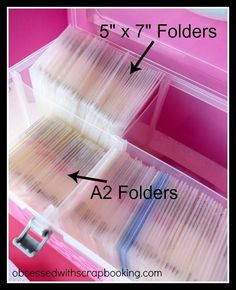 Obsessed with Scrapbooking: [Video]How to Organize and Store Embossing Folders a. - Obsessed with Scrapbooking: [Video]How to Organize and Store Embossing Folders and Dies with Close - Craft Room Organisation, Scrapbook Room Organization, Folder Organization, Paper Organization, Sticker Organization, Organizing Life, Organising, Organizing Ideas, Scrapbook Paper Storage