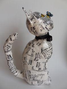 Cat with Butterfly - Paper mache cat by Carla Scheffer