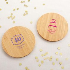 Personalized Wood Round Coaster - Birthday (Set of Give every guest a reason to celebrate with our Personalized Wood Round Coaster set of 12 with Kate Aspen Birthday prints! The coaster set makes a perfect addition to birthday party tables, whil Birthday Party Tables, Adult Birthday Party, Baby Favors, Wooden Coasters, Guest Gifts, Wood Rounds, Birthday Design, Coaster Set, Bamboo Construction