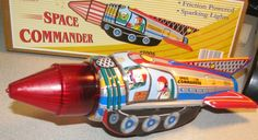 tin toys spaceman | Details about Sparking Space Commander Rocket Wind Up Tin Toy Brand ...