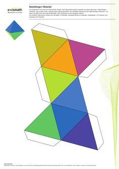 Platonische Körper Basteln. Ein Set mit fünf Bastelbögen. Hier: Oktaeder aus acht Dreiecken.
