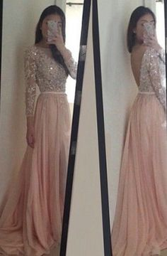 2017 pink long sleeves prom dress,backless prom dress Charming O-Neck Long Sleeves Pink Prom/Evening Dress With Appliques