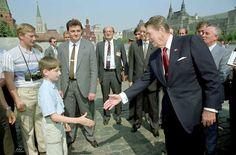 That time Ronald Reagan met Vladimir Putin. Putin as a KGB agent has the camera pretending to be a tourist