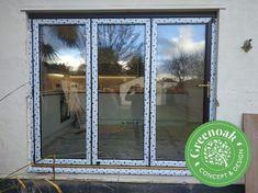 Rosewood Bi-Folding Door installation Essex Upvc Windows, Sash Windows, Windows And Doors, External Cladding, Window Glazing, Window Replacement, Composite Door, Exterior Trim, Wall Cladding