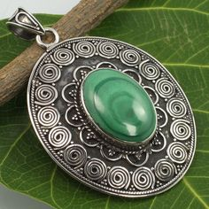 925 Solid Sterling Silver Genuine MALACHITE Oval Gemstone Ethnic Design Pendant #Unbranded #Pendant