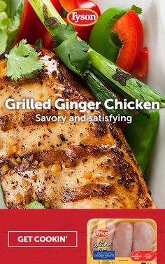 Discover how ginger adds a nice bit of lightness to grilled Tyson chicken. Tap the Pin to get the recipe. Turkey Recipes, Meat Recipes, Asian Recipes, Crockpot Recipes, Chicken Recipes, Dinner Recipes, Cooking Recipes, Healthy Recipes, Healthy Snacks