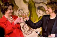 WINE DRINKER: Speaker of the US House of Representatives Nancy Pelosi, right, and Israeli Knesset speaker Dalia Itzak toast during an official dinner at the Knesset, Israel's Parliament in Jerusalem. Sunday, April 1, 2007. Pelosi will tell Syrian leaders when she visits Damascus this week on a trip criticized by the Bush administration that Israel will only engage in peace talks if Syria stops supporting Palestinian militants, Israel said Sunday. (AP Photo/Sebastian Scheiner,Pool)