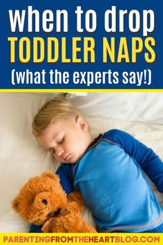 When should you drop your toddler's nap? Parenting from the Heart shares a sleep expert's insights and signs to look for to know when your toddler is ready to stop napping. Find helpful tips for making the transition go more smoothly, too! #parentingtoddlers #parenting #parentingadvice #advice #naptime #toddlers #preschool #parentingtips