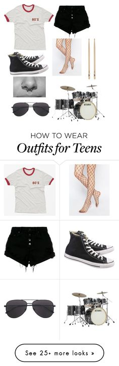 """""""Drummer"""" by warpedweirdo on Polyvore featuring Nobody Denim, Gipsy and Converse"""