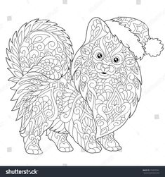 Coloring page of pomeranian, dog symbol of 2018 Chinese New Year. Freehand sketch drawing for Merry Christmas greeting card or adult antistress coloring book with doodle and zentangle elements.