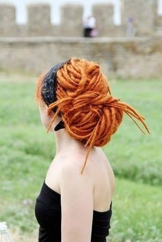 Redhead, pale beauty, long dreadlocks, updo for dreads Natural Dreads, Beautiful Dreadlocks, Dreads Styles, Dreadlock Styles, Dreadlock Hairstyles, Dreadlocks Updo, Natural Hair Styles, Long Hair Styles, Ginger Hair