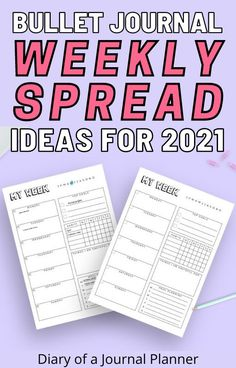 Make bullet journaling in 2021 simple with these 25 amazing bullet journal weekly spread ideas you need to try! Plus free printable weekly pages! #bulletjournal #weeklyspread #bulletjournalprintables #bulletjournallayouts #bujo Bullet Journal Layout Templates, Bullet Journal Printables, Weekly Planner Template, Printable Planner, Journal Pages, Journal Ideas, Bullet Journal How To Start A, Weekly Spread, Templates Printable Free