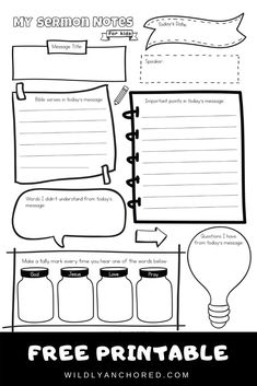 Sermons for kids can be hard to understand. But, we can help them by making it more fun using this free printable sermon notes for kids template! Sermons For Kids, Free Sermons, Bible Study For Kids, Bible Lessons For Kids, Kids Bible, Sermon Notes, Bible Resources, Bible Activities, Kids Church