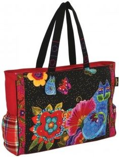 e345267be72 The artwork on the fabric handbags and totes made by Laurel Burch often  features whimsical cats