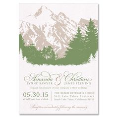 Scenic Wedding Invitation in Fern & Fawn | by The Green Kangaroo, Inc.