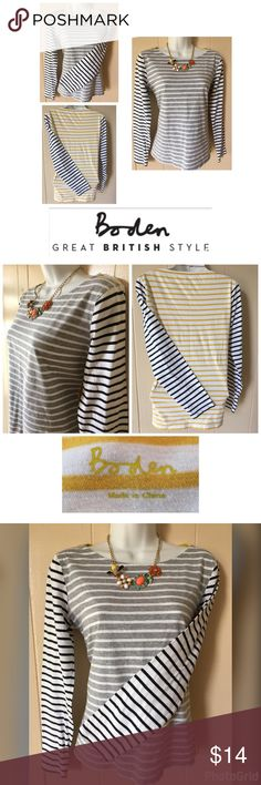 Boden Woman's 💯Cotton Tee Three Striped Pattern M Biden Woman's 💯 Cotton Striped Tee Yellow Black Gray Size M Boden Tops Tees - Long Sleeve