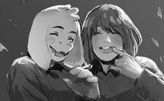 Don't let incorporealism get in the way of family time. Asriel and Chara
