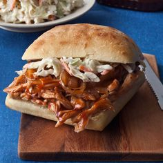 BBQ Chicken Sandwiches    Enjoy barbecue flavor without the added fat and calories. Using low-fat sour cream keeps this meal feeling light!